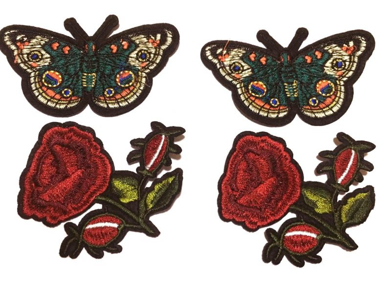 Bordados mariposas y flores Moaré Color