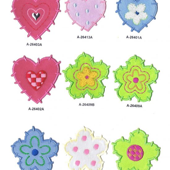 Bordados de flores y corazones Moaré Color