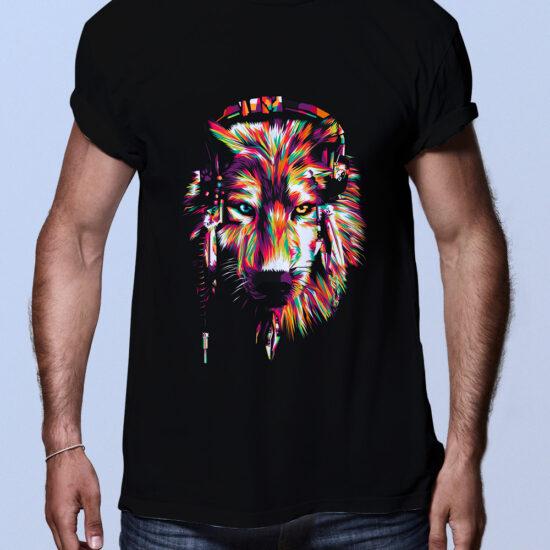 Camiseta hombre negra lobo