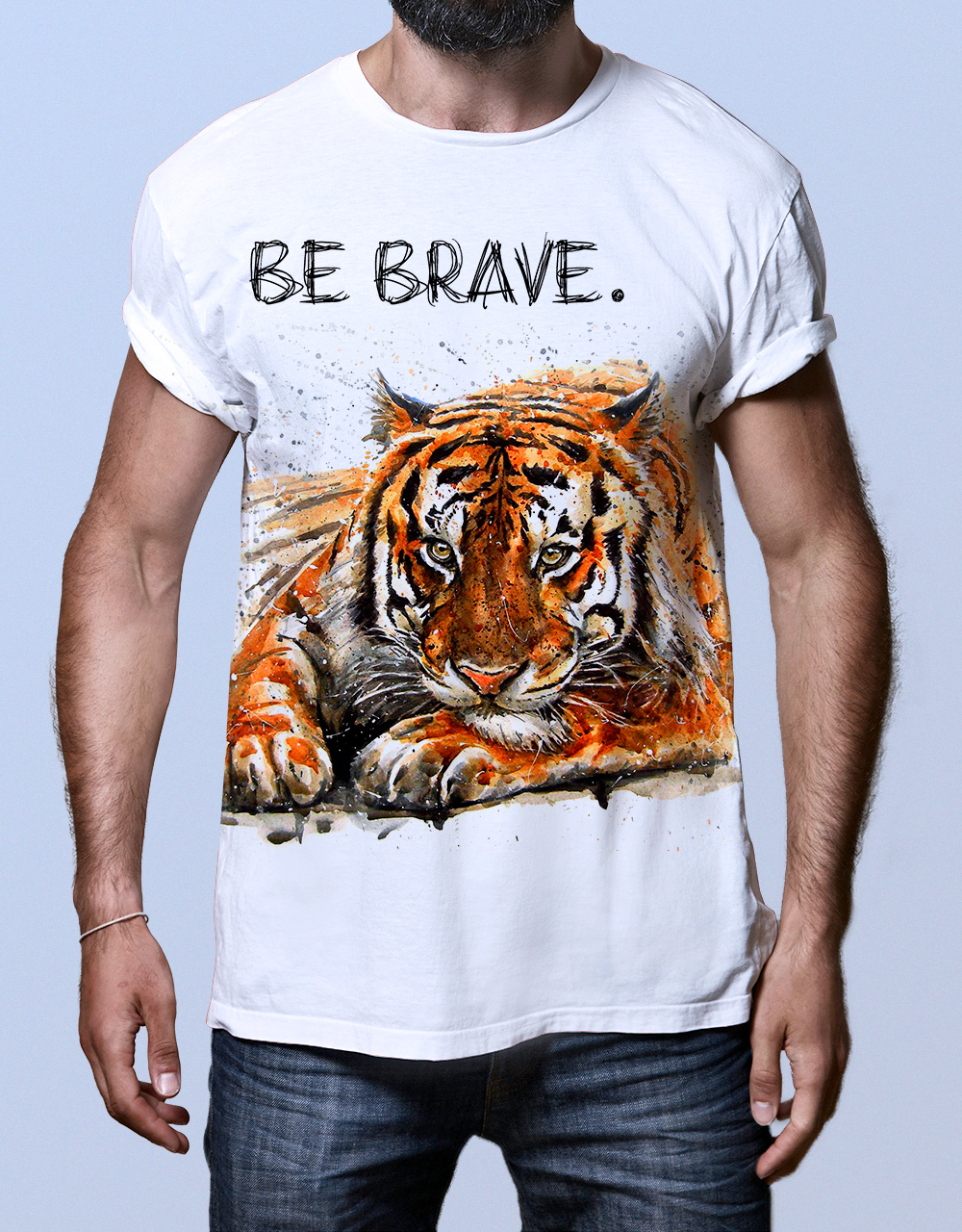 Camiseta hombre blanca tigre