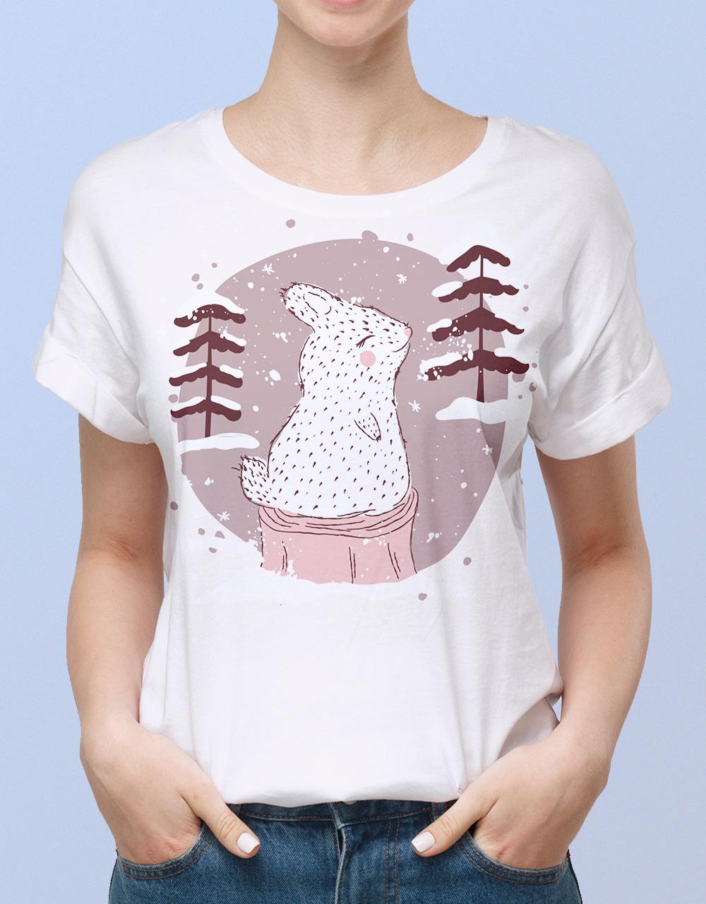 Camiseta mujer blanca conejo