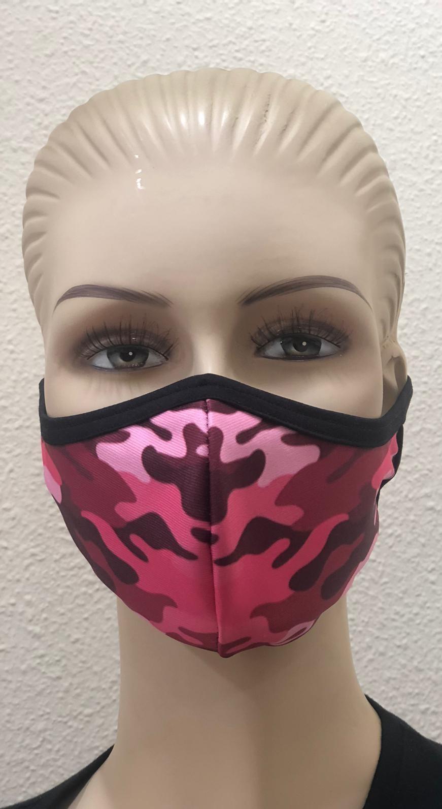 Mascarilla camuflaje rosa sublimación personalizada